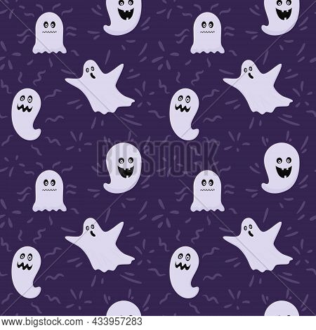 Seamless Pattern With Halloween Ghosts. Flat Ghosts, Phantoms In The Sheet. Scary, Creepy. Color Vec