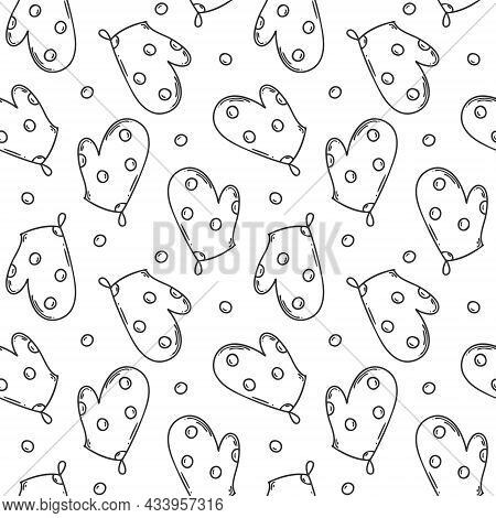 Seamless Pattern With A Kitchen Pot Holder. Mitt-mitt. Monochrome Backdrop With Simple Linear Outlin