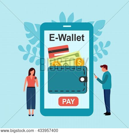 E-wallet Payment, Digital Currency Concept Vector Illustration. Man And Woman Holding Smartphone And