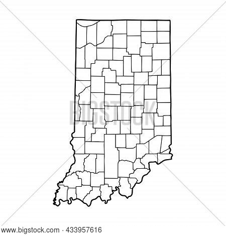 Outline Map Of Indiana White Background. Usa State,  Vector Map With Contour.