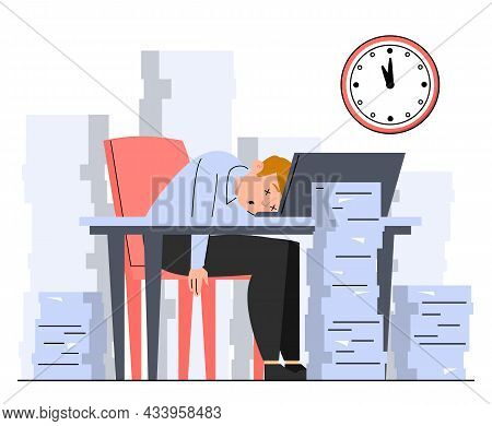 Manager Sleeping On Desk Around Paper Piles