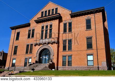 Ortonville, Minnesota, May 14, 2021: The Courthouse Of Big Stone County Was Built In 1902 Of Romanes
