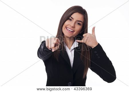 Cheerful woman gesturing