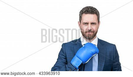 Confident Businessman Man In Suit And Boxing Gloves Isolated On White Copy Space, Authority