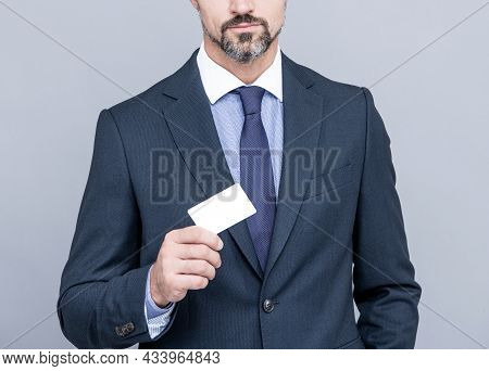 Empty Plastic Business Name Card. Successful Ceo Suggest Easy Banking Profit Payment.