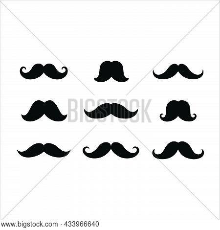Mustache Icon. Retro Mustache Barber Sign Or Symbol. Black Mustache Icon.