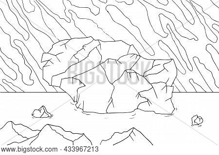 Doodle Alien Fantasy Landscape With Big Rocks Coloring Page For Adults. Fantastic Psychedelic Graphi