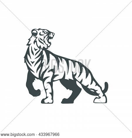 Tiger Icon Isolated On White Background, Tiger Icon Trendy And Modern Symbol For Graphic And Web Des