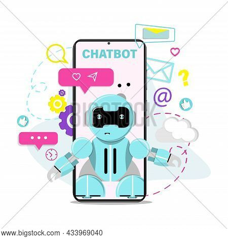Chat Bot Robot Virtual Assistant. Concept For Website Or Mobile Application, Artificial Intelligence