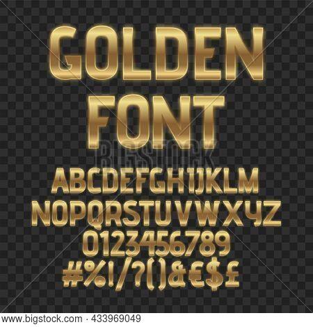 Gold Luxury Letters. Golden Font. Elegant Metal Effect. Vector Gloss Typography. Fashoin Digital Fon