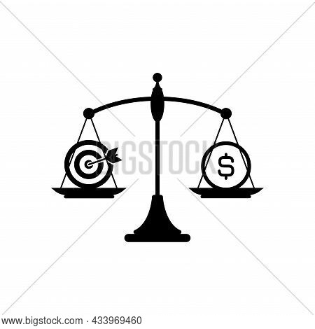 Black Mechanical Scales With Dollar Coin And Aim Or Target In Pans. Dream Value, Solution And Expens