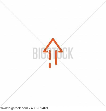 Red Thin Rounded Arrow Up Icon. Isolated On White. Upload Icon. Upgrade Sign. North Pointing Arrow.