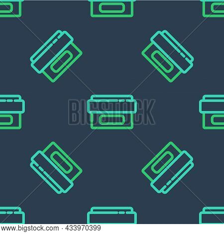 Line Ointment Cream Tube Medicine Icon Isolated Seamless Pattern On Blue Background. Tube, Container