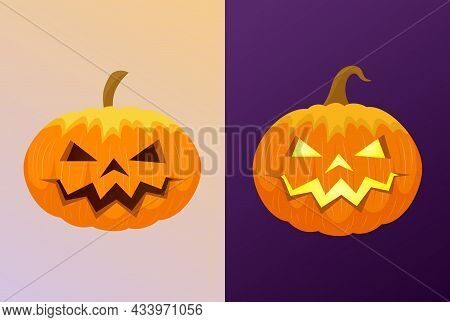 Halloween Pumpkins Carved. Day And Night. Scary Glowing Traditional Pumpkin Isolated. Vector Illustr
