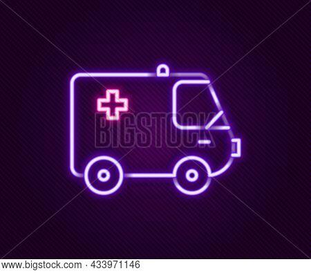 Glowing Neon Line Ambulance And Emergency Car Icon Isolated On Black Background. Ambulance Vehicle M