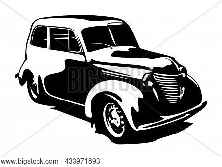 Retro Car Vector Illustration. Vintage Poster Of Retro Car. Old Mobile Isolated On White