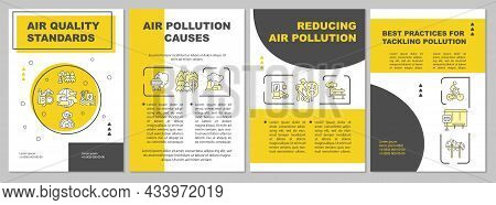 Air Quality Standards Brochure Template. Reducing Air Pollutants. Flyer, Booklet, Leaflet Print, Cov