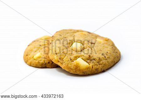 Lemon Cookies With White Chocolate Isolated On White Background With Clipping Path