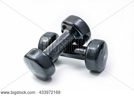 Dumbbell Pair Set. Fitness Weight Equipment. Gym And Body Building Black Weights Exercise. Isolated