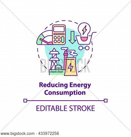 Reducing Energy Consumption Concept Icon. Common Initiative Abstract Idea Thin Line Illustration. Lo