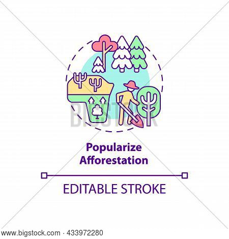 Popularize Afforestation Concept Icon. Common Initiative Abstract Idea Thin Line Illustration. Creat