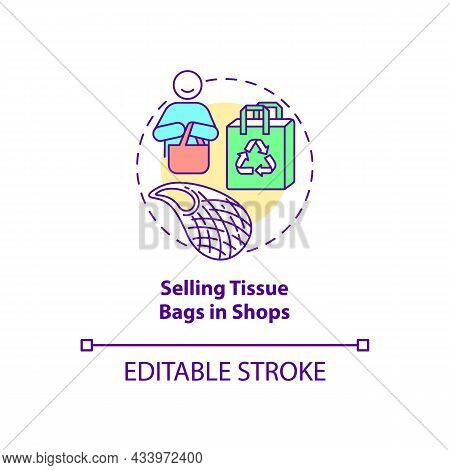 Selling Tissue Bags In Shops Concept Icon. City Solution Abstract Idea Thin Line Illustration. Susta