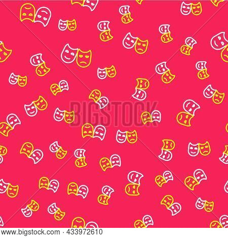 Line Comedy And Tragedy Theatrical Masks Icon Isolated Seamless Pattern On Red Background. Vector