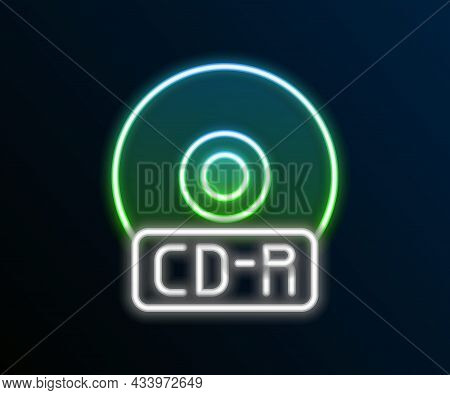 Glowing Neon Line Cd Or Dvd Disk Icon Isolated On Black Background. Compact Disc Sign. Colorful Outl