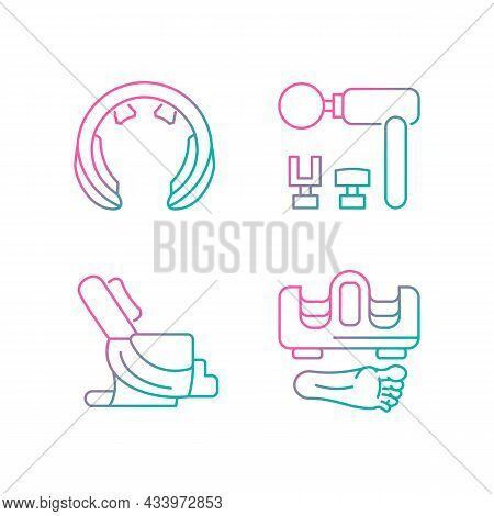 Vibrating Massagers Gradient Linear Vector Icons Set. Massage Chair. Devices For Neck And Feet Stimu