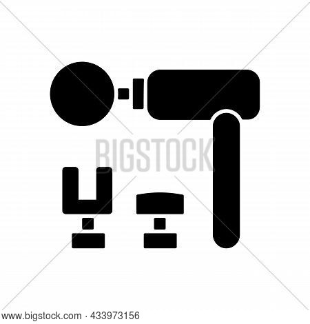 Percussive Massage Tool Black Glyph Icon. Massage Gun. Muscles And Tissues Massaging. Muscle Relaxat