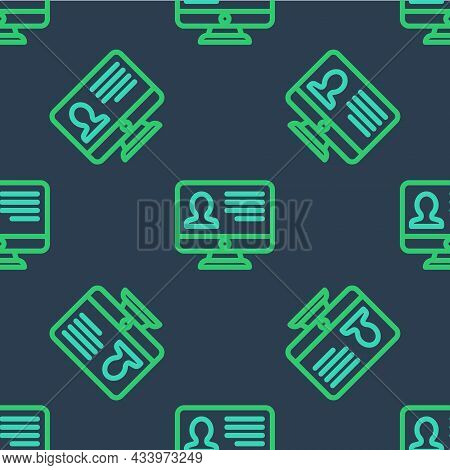 Line Computer Monitor With Resume Icon Isolated Seamless Pattern On Blue Background. Cv Application.
