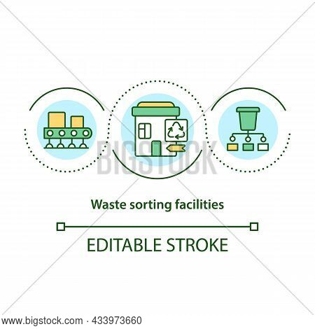 Waste Sorting Facilities Concept Icon. Garbage Separation Process. Recycling Collection Point Abstra