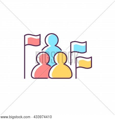 Social Studies Rgb Color Icon. Group Of People, Flags. Humanities Science. Social Science Learning I