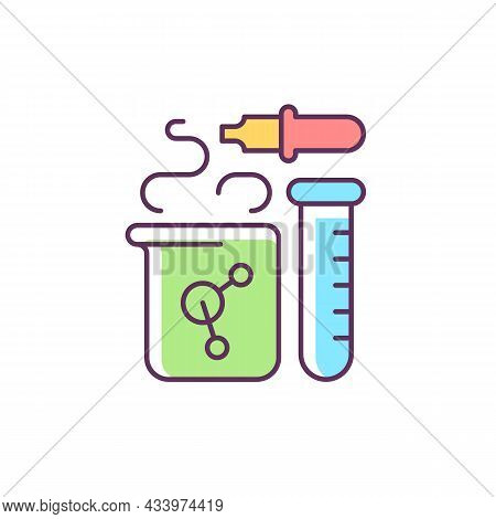 Chemistry Rgb Color Icon. Chemical Reaction In Beaker. Test Tube, Pipette, Flask. Laboratory Equipme