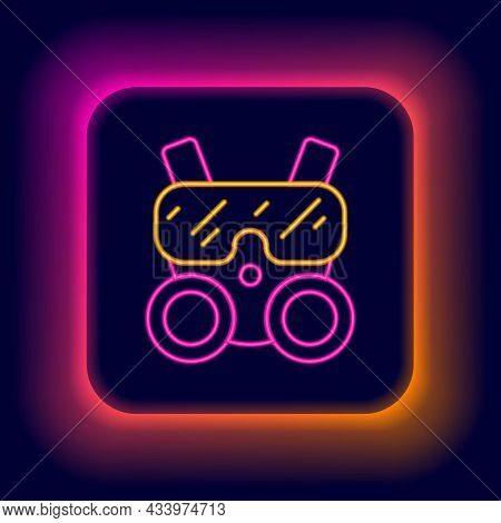 Glowing Neon Line Gas Mask Icon Isolated On Black Background. Respirator Sign. Colorful Outline Conc