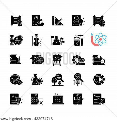 School Subjects Black Glyph Icons Set On White Space. Humanities And Applied Sciences. Social Scienc
