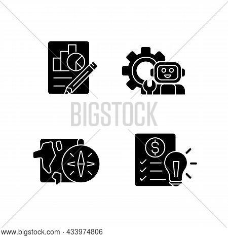 Diversity Of School Subjects Black Glyph Icons Set On White Space. Economics Report. It Classes. Geo