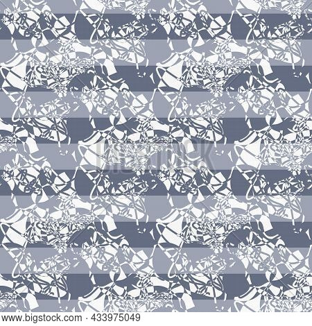 Abstract Marbling Striped Texture. Blue, Indigo, White Vector Seamless Pattern Background. Backdrop