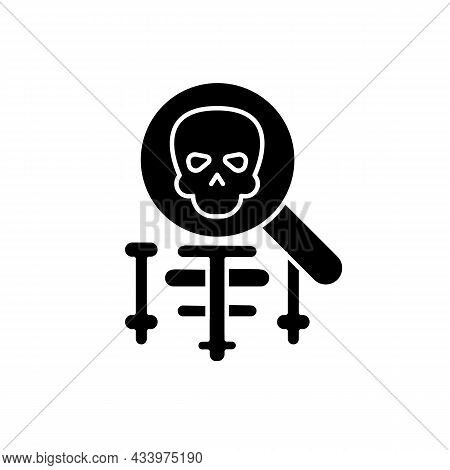Anatomy Black Glyph Icon. Human Body Structure Study. Anatomy Lessons In Schools, Universities. Skel