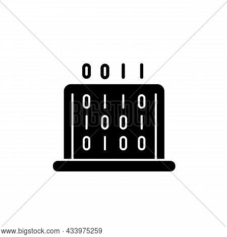 It Black Glyph Icon. Coding Classes In Schools, Universities. Computer Knowledge, Skills. Computer H