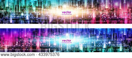 Abstract Futuristic City Vector Banner, Cityscape Background Header