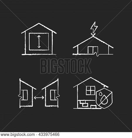 Building Safe House Chalk White Icons Set On Dark Background. Minimum Ceiling Heights. Lightning Rod