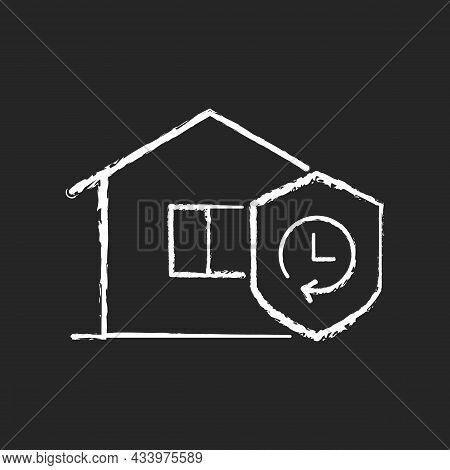 Durability Chalk White Icon On Dark Background. Building Materials Reliability. House Lifespan Expec