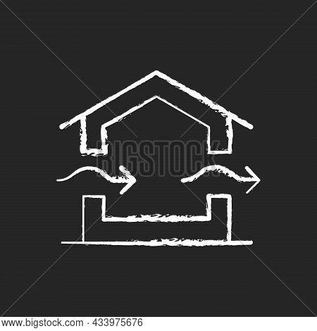 Ventilation System Chalk White Icon On Dark Background. Providing Natural Ventilation In Building. I