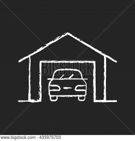 Parking Space Nearby Chalk White Icon On Dark Background. Residential Garage. Accessible Space For V