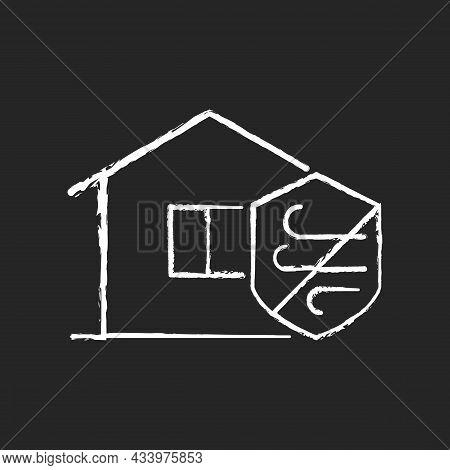 Weather Resistance Chalk White Icon On Dark Background. Weatherproofing Apartment Building. Hurrican