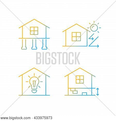 Residential Building Gradient Linear Vector Icons Set. Pile Foundation. Thermal Insulation. Electric