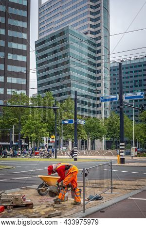 29 June 2021, Rotterdam, The Netherlands, Roadworks On Traffic Signalization In The Central Area Of
