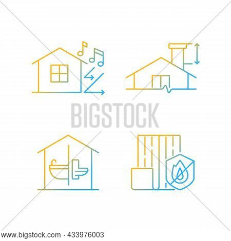 Home Construction Safety Gradient Linear Vector Icons Set. Sound Insulation. Minimum Chimney Height.
