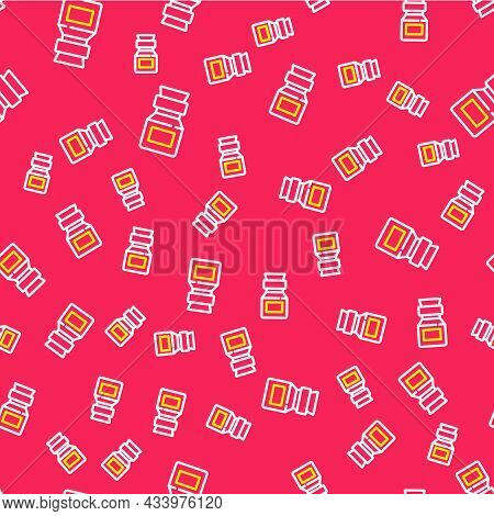Line Poison In Bottle Icon Isolated Seamless Pattern On Red Background. Bottle Of Poison Or Poisonou